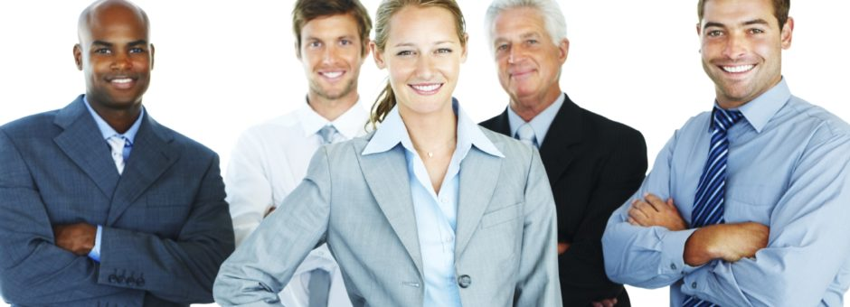 Portrait of a confident business team over white background